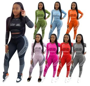 2020 New Women Clothes Tracksuits Two Piece Set Fashion Letter Print Long Sleeve T Shirt Pencli Pants Suits Casual Ladies Sports Suits