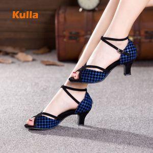 Women Salsa Dance Shoes Silver Navy Blue Latin Dancing Shoes Soft Outsole Ladies Girls Ballroom Tango Dance Shoes Sandals Heels 201020