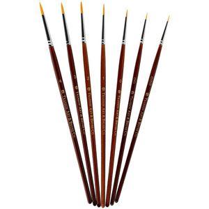 7pcs / set Beruf Pinsel Set Sable Haar-Detail 7 Miniatur-Acrylnagel-Bürsten-Kunst-Malerei Zeichnung Pinsel Pen