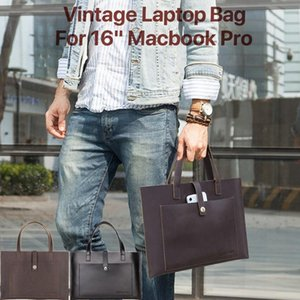 "Fashion Mens Briefcase Retro Laptop Bag Genuine Leather Laptop Sleeve Case Notebook Handbag for Macbook Air Pro 13.3"" 15"" 16"""