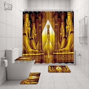 Nyaa egipcia antigua Plato de ducha a prueba de agua de baño retro sin cortinas de poliéster tela para la decoración del hogar X1018