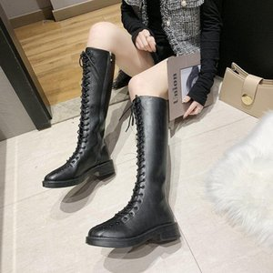 Knie Hohe Stiefel Lace Up Damen Schuhe Oberschenkel Hohe Stiefel Knie Frauen Schuhe Winter Motorrad Lange Botas Altas Mujer 2020
