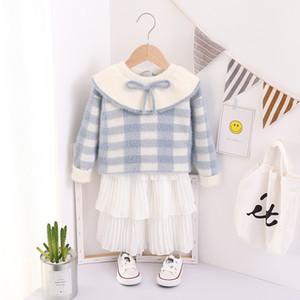 Kinderkleidung Herbst und Winter New Nerz Mädchen Pullover koreanische Art-Bogen-Rundhalsausschnitt Kinder Strick Hemd