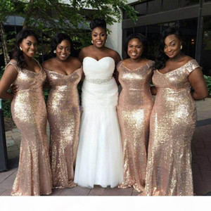Sparkly Rose Gold Mermaid Bridesmaid Dresses 2018 Off-Shoulder Sequins Backless Plus size Wedding Party Dress Light Gold Bridesmaid Gowns