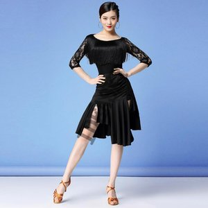 New Latin Dance Dress Sexy Costumes Clothes For Salsa Wear Women Latin Dance Competition Dresses Fringe Tassel Skirt
