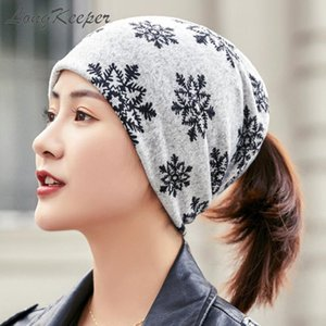 LongKeeper 2020 Imitate Cashmere Women Beanies Ladies Snowflake Casual Polyester Scarf Cap Skullies Girls Female New Headwear