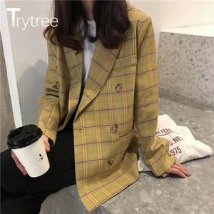 Trytree Primavera Otoño Las mujeres de la capa del juego ocasional da vuelta-abajo al collar doble de pecho Bolsillos tela escocesa amarilla Oficina señora Coat 201013 Traje