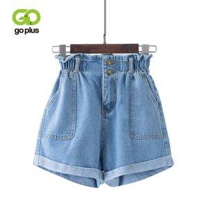 GOPLUS 2020 Summer Casual Women Jeans Shorts Preppy Retro Elastic High Waist Plus Size Blue Denim Shorts Pockets Female