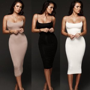 Women Summer Ladies Stretch Bodycon Sleeveless Long Midi Dress Plain Vest Tank Dresses drop shipping good quality designer clothes