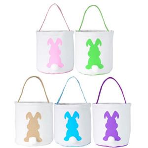 2021 5 colors egg Basket Easter Bunny Bags Rabbit Printed Canvas Tote Bag Egg Candies Baskets Gift handbag T9I001063