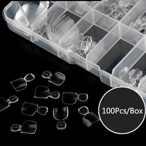 100Pcs Artificial Acrylic Toe False Nails Tips Natural Clear Color Foot Fake Nails Manicure Art Decoration Toenails Beauty Tools