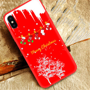 Christmas Theme Pattern Phone Case For iPhone 12 11 XS Max XR X 8 Plus TPU Hot Sale Mobile Phone Back Cover Shell noey
