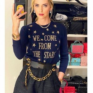 Cosmicchic Frauen Sterne Pullover aus 100% Wolle Langarm-Strickpullover Gold Star Letter-Muster Pullover Navy Blau weichen Strick 8sRQ #