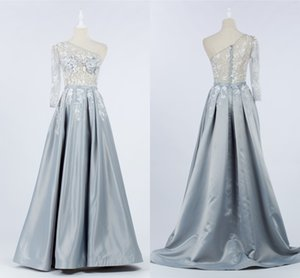 Sexy Sliver One shoulder Prom Party Dresses 2021 with Long Sleeves Lace See Through Top Ruched Long Celebrity Evening Formal Dress Gowns