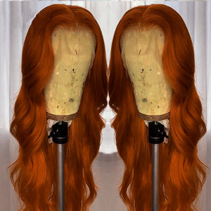 Orange Red Water Wave 13x4 6 lace Part Wig Swiss Lace Middle Part U part Wigs Body Wave For Black Women With Baby Hair