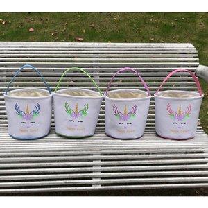Bolso de Pascua Unicornio D Niños Cesta de Canasta Egg Barrel Banket Bolsos Bolsos de peluche Dibujos animados Glitter Bolsa de asas Candies Lla129 UJWRD