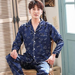Erkekler Leke Pajama Pijama Pijama Seksi Modern Stil Yumuşak Rahat Saten Gecelik Erkekler Sahte İpek