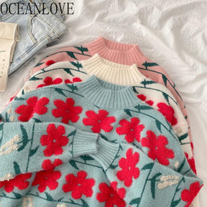 OCEANLOVE Woman Sweaters Print Flower Sweet Japan Style Kawaii 2021 Ins Fashion Mujer Sueter Loose Warm Pull Femme Hiver 19507