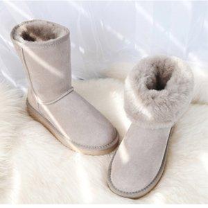 De calidad superior GZaco lujo de las mujeres de piel de oveja clásico genuino de piel de oveja botas para la nieve lana zapatos de cuero de gamuza hembra invierno