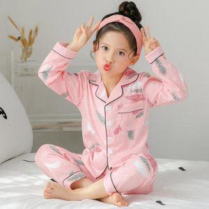 Girls Pajamas Long Sleeve Spring and Autumn Summer Girls Set Cotton Children Big Child Baby Children's Home Service