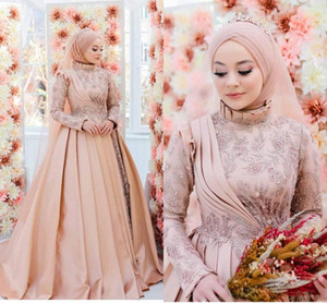 2021 Muslim Wedding Dresses Long Sleeves High Neck Lace Applique Crystals Ruffles Ruched Pleats Custom Made Wedding Gown Vestido de novia