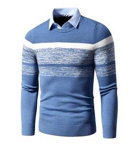 ¡Novedad de 2020! Jersey Casual de marca para Otoño e Invierno para hombre, jersey con cuello camisa básica y estampado p