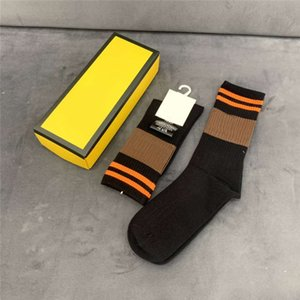 Mens Socks Letters Embroidery Fashion Solid Color Striped Sport Cotton Breathable with 5 Colors Stocking Couple Unisex Hip Hop 02 Socks Box