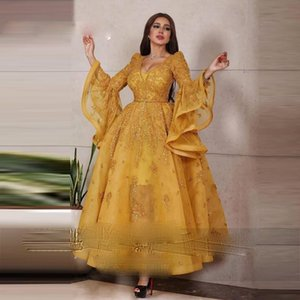 Ankle Length Dubai Arabic Evening Dresses Flare Long Sleeve Organza Formal Dress Lace Appliques Sequined Prom Gowns