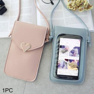 Transparent Mini Cross Body Bag Women Touch Screen Mobile Phone Shoulder Bag Heart shaped Ornament PU Leather Snap Button 2
