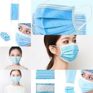 Pregunta 3 capas de filtro a prueba de polvo Earloop no tejido de la boca 360 ° Máscaras plegable civiles azul Fa máscara # 612