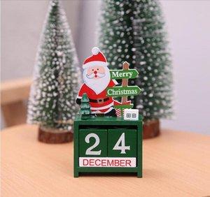 Takvimler 3D Noel Ahşap Takvim Sevimli Santa Geyik Kardan Adam Baskı Takvim Çocuk Masaüstü Süsler Noel Süslemeleri DHE3771