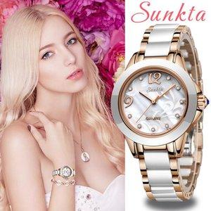 Sunkta Fashion Women Womes Women Mesdames Bracelet Montre Décontracté Céramique Quartz Montre-Bracelet Horloge Watch Watch Relogio Feminino1