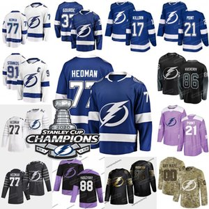 77 Victor HEDM Tampa Bay Lightning 2020 Stanley Cup Champions Jersey Brayden Punto Nikita Kucherov Steve Stamkos Ondrej Palat Patrick Gourde
