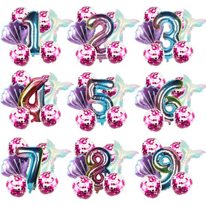 8pcs Mermaid Birthday Party Balloon Decoration Number Balloon Decor 1 2 3 4 5 6 7 8 9 years kids Birthday Party Supplies