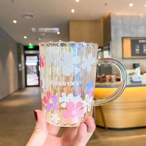 355ML Starbucks Laser Cherry Blossom Glass Pink Petal Coffee Cup Water Cup Large Capacity Best Gift Product