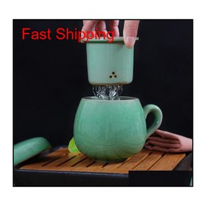 Chinese Porcelain Tea Cup With Lid And Infuser Strainer Teacup Celadon Teapot Mug Gift Drinkware Trave qylNxt mj_bag