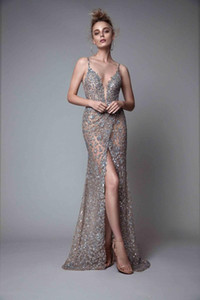 Berta Front Split Evening Dresses Rhinestones Sleeveless Plunging Neckline Prom Dress Backless Floor Length Formal Evening Gowns