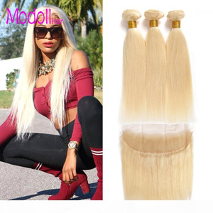 10a grade 613 Blonde Bundles With Frontal Pre Plucked Straight raw virgin indian hair Honey Platinum Blonde Bundles With Closure Remy Hair