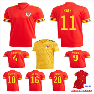 Adulte Kids 2020 2021 Pays de Galles Bale Soccer Jerseys McGinn Lewis Shankland Findlay 20 21 Accueil Équipe nationale Chemises de football