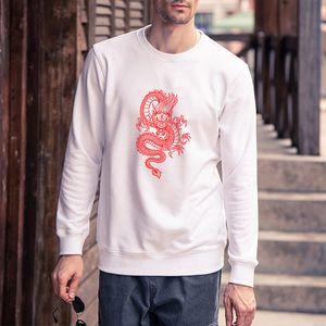 Men DIY Clothing Fashion Dragon Printed Sweatshirts Mens Long Sleeve Pure Color Hoodies Pullover Tops Mens Clothing