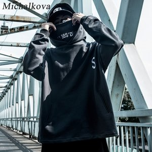 michalkova Hip Hop Patchwork solto Homens Embroideried pulôver 2020 Falso Two Techwear Hoodies DarkWear Tops Streetwear