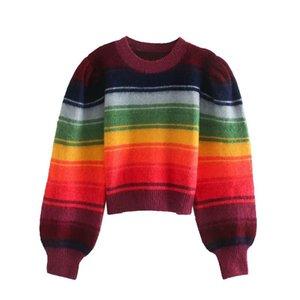 BBWM Женщины 2020 Мода Цвет Полосатый Обрезанные вязаный свитер Vintage O шеи длинным рукавом Пуловеры Женские Шикарные Перемычки