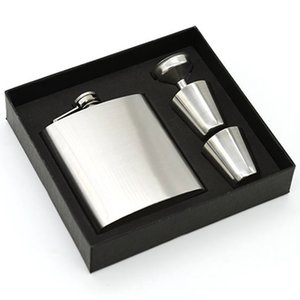 New 7oz Stainless Steel Hip Flasks Liquor wine Hip Flask Flagon Whisky pocket hip flask sets with 1 Funnel 2 Cups gift box BY DHL