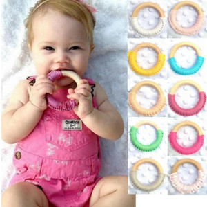 Wooden Teether Ring Handmade Crochet Rings Wood Circles Teething Traning Toys Nurse Gifts Baby Teether Baby Care Soothers GWB2463