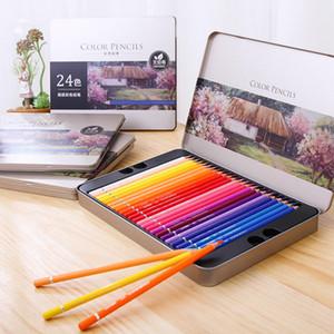 Deli Oil 24 36 48 72 Colors Pencil Wood Graffiti Iron Box Fill Pen Advanced Colored Lead Painting Sketch School Supplies Q1107