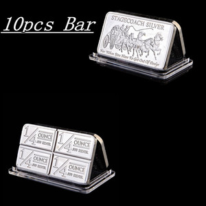 10pcs Non magnetic Northwest Region Fine Stagecoach 1 4 Ounce 999 Silver Plated Territorial Mint Replica 50 x 28mm Divisible Bar