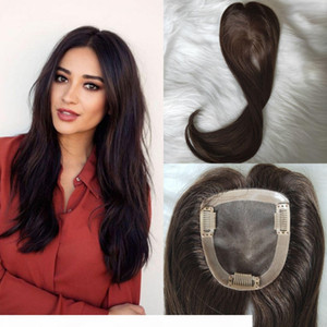 10x11cm Virgin Hair Toppers #2 Dark Brown color Human Hair Toupee for Women Slik Straight Clip in Topper for hair thinning