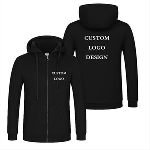 Autumn Winter Custom Logo Design Men amp; Women Hooded Jacket Korea Style DIY Printing Zipper Coat Unisex Outdoor Jackets