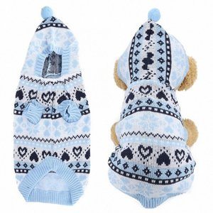 Pet Acrylfasern Herz-Schneeflocke blau Haustier-Winter-warme Kapuzenpullover Kleidung Kleidung für Hunde w467 #