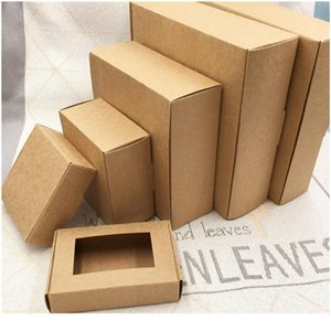 10pcs Square Kraft Box With Window Paper Gift Packaging For Wedding Home Party Muffin Packaging Christm jllWCx